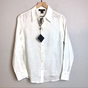 Brooks Brothers Irish Linen Button Up Blouse